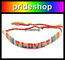 Lesbian Gay Pride LOVE Friendship Flat Bracelet Rainbow And White Cotton #1446