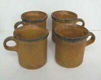 Vintage McCoy Pottery Coffee Cup Mug Brown Drip Glaze Stoneware 1412   Set Of 4