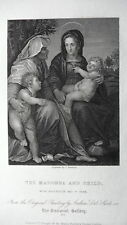 GRAVURE ANCIENNE 19e - MARIE ET L'ENFANT