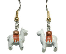 PERUVIAN CERAMIC LLAMA DANGLE EARRINGS (D162)