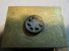 Oriental Decoration on Brass Trinket Box with Mahogany Lining.
