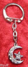 Rhinestone Silver-tone Star & Moon Crescent Keyring Key Ring Islam Muslim Gift