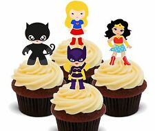 Superhero Girls - Edible Cup Cake Toppers, Fairy Bun Decorations Kids Birthday