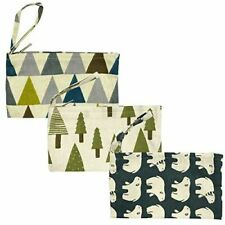 Wrapables Canvas Pencil Pouch Cosmetic Bag Coin Purse Clutch Wristlet (Set of 3)