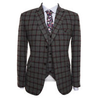 Men Gray Plaid Suit Tweed Vintage Tuxedo Formal Wedding Party Dinner Suit Custom