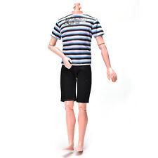 Striped Shirt Suit for Ken Doll Barbie Cloth Black Short Pants Suit