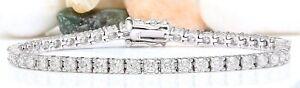 5.00 Carat Natural Diamond 14K White Gold Luxury Tennis Bracelet