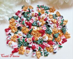 50/25/10pc 3D Glitter Christmas Santa Snowman Gingerbread Cane Mix Xmas Nail Art