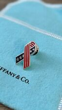 Sterling Silver Enamel Pin Tiffany Usa Flag Ribbon 925