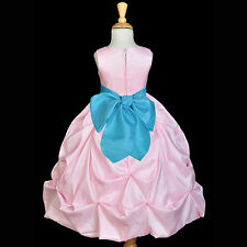 PINK TAFFETA PRINCESS FLOWER GIRL DRESS TODDLER BRIDESMAID WEDDING PAGEANT CHILD