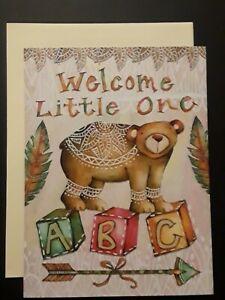 New Baby Card ~ Birth Congratulations ~ Bear ~ ABC Blocks