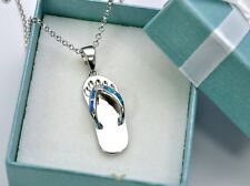 """Stunning Blue Opal Bavaro flip flop .925 Sterling Silver Charms 18"""" Chain"""