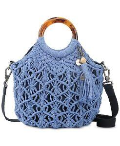 THE SAK Helena Bracelet Handle Round Small Tote Crossbody Blue Bell Crochet New