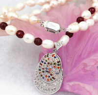 """Akoya Cultured Pearl Garnet Ruby Necklace Multicolor Crystal Pendant 18 """" White"""