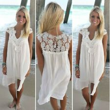 UK Women's Summer Beach Wear Bikini Cover Up Lace Chiffon Mini Sun Plus Dress
