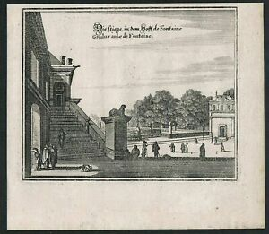 1650 - Paris Fontainebleau estampe gravure Kupferstich Merian engraving