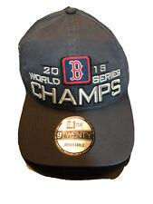New Era 9Twenty Mens Gray Boston Red Sox Adjustable 2018 MLB World Series Hat