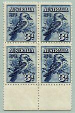 Australien Australia 1928 Kookaburra 3d Vogel Dienst 72 Viererblock MNH / 300