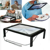 A4 Large Full Page Magnifier Sheet 4 LED Magnifying Glass For Reading Aid Lens