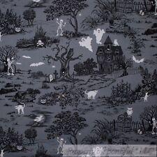 BonEful Fabric Cotton Quilt Gray Black White B&W Halloween Scenic Cat Tree SCRAP
