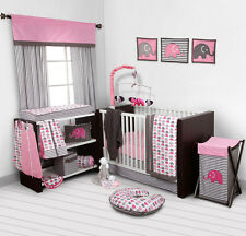 Baby Girl Bedding Bedroom Set Nursery Elephants Pink 10 pc Crib Infant Room Kids