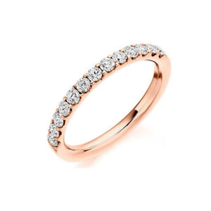 Round Cut Diamond Solitaire Engagement Wedding Band Ring 14K Rose Gold Over