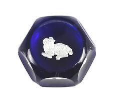 Baccarat Zodiac Cobalt Blue Art Glass Paperweight, ARIES the Ram