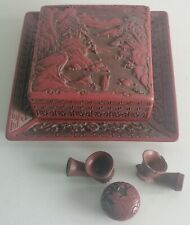 LATE 19th QING CINNABAR BOX AND SMOKE LAQUE CINABRE BOITE SMOKING CHINE CHINESE