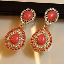 Boucles d`Oreilles a Clip Longue Pendante Corail Goutte Mini Perle Cadeau A2