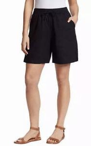 NWT! Gloria Vanderbilt Ladies Linen Blend Short Casual Classy Ladylike Black S24