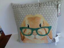 New ListingVcny Happy Spring Bunny With Glasses 20 X 20 Decorative Pillow Gray Polka Dot