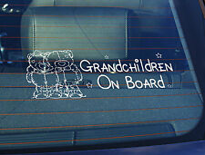 Static Cling Window Car Sign/Decal Grandchildren on Board 100 x 250mm Teddys