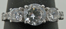 Wedding Engagement Ring Size 6.75 Lovely Estate Sterling Silver Cubic Zirconia
