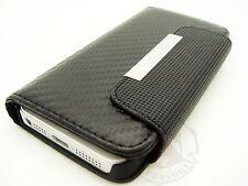 Apple iPhone 5 5S SE Leather Premium Wallet Case Pouch Flip Cover Carbon Fiber