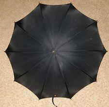 """Black 34"""" Umbrella With White Bead Handle"""