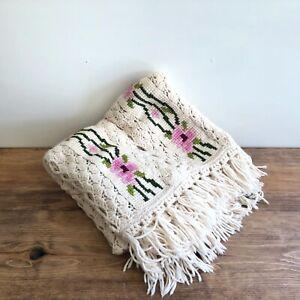Vtg Handmade Crochet Afghan Blanket Throw Cross Stitch Floral Rose Cream Pink