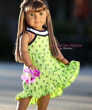 NAUTICAL Anchor LIME Girl SUMMER DRESS clothes for American nanea Doll