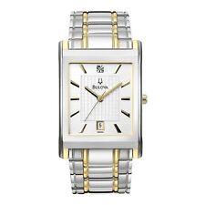 New Men's Bulova 98D005 Silver Dial Two Tone Stainless Steel Bracelet Watch