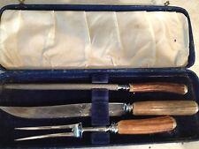 Vintage Barber & Co. 3 piece CARVING SET STAG HORN HANDLES SHEFFIELD
