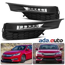 Fit 2016 2017 2018 Honda Accord Sedan LED DRL Bumper Fog lights Set w/Wiring Kit
