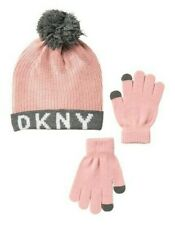 DKNY Girls Chenille Knit Hat with Tech Touch Gloves Set