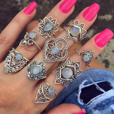 CO_ 9Pcs/Set Vintage Women Boho Hollow Flower Knuckle Midi Stacking Rings Set La