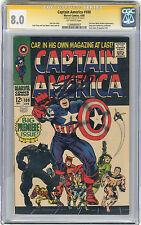 1968 Captain America 100 CGC 8.0 Signed By Stan Lee  Origin Retold