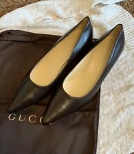 GUCCI Mahogany Brown Leather Authentic Heels