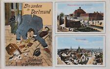 """2835 AK """"bin soeben in Dortmund glücklich angekommen!"""" Bahnhof, Synagoge um 1915"""
