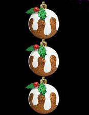 9 x Christmas Pudding Glittery Christmas Tree Decorations Baubles 8cm