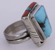 Modernist Taos Pueblo sterling, Red Mountain Turquoise, Coral inlay by Doug Nava
