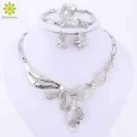 Women's Crystal Rhinestone Flower Necklace Earring Set Silver Plated Jewelry Set