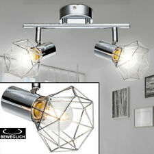 RETRO Decken Spot Lampe Wohn Ess Zimmer Balken Licht-Schiene schwenkbar silber