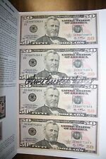 ONE UNCUT SHEET OF (4 ) 2006 $50 FEDERAL RESERVE NOTES $200 SIGNED